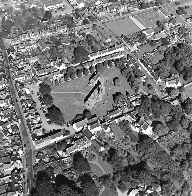Oblique aerial view of Fortrose centred on the cathedral and court house, taken from the WSW.
