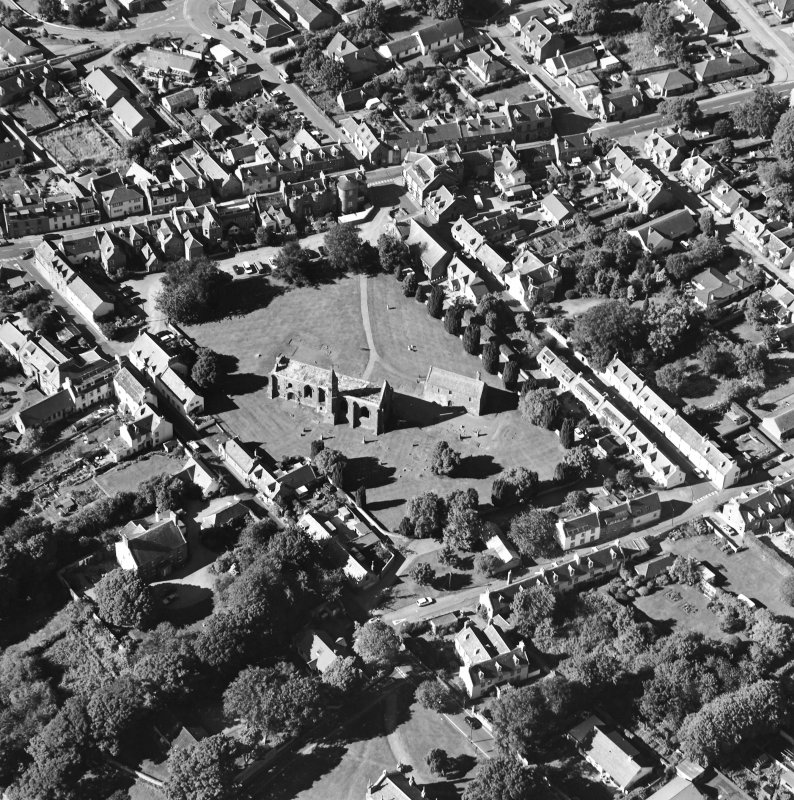 Oblique aerial view of Fortrose centred on the cathedral and court house, taken from the SSE.