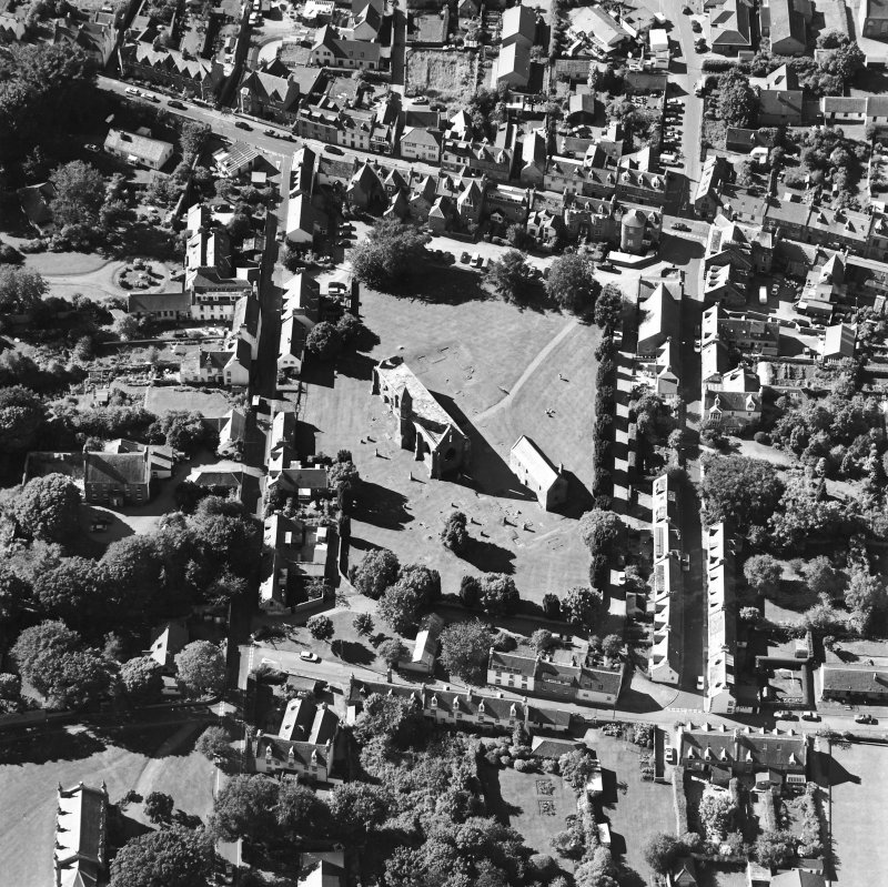 Oblique aerial view of Fortrose centred on the cathedral and court house, taken from the ESE.