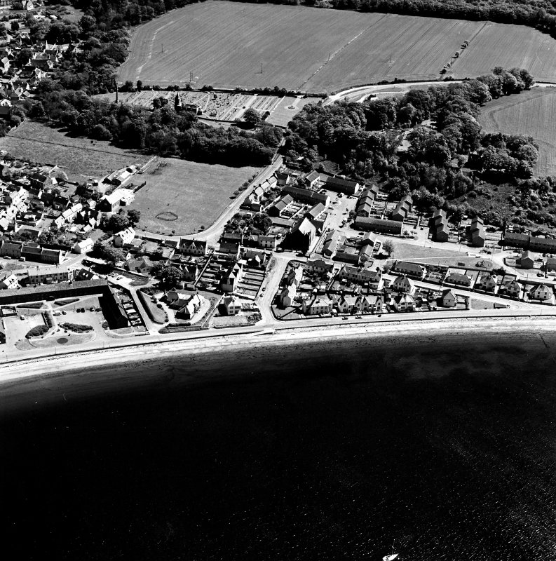 Aerial view of Cromarty, the former linen and ropeworks, Marine Terrace, Hemp works, Bayview Crescent and the Church of Scotland, Bayview Crescent, West Church from the W.