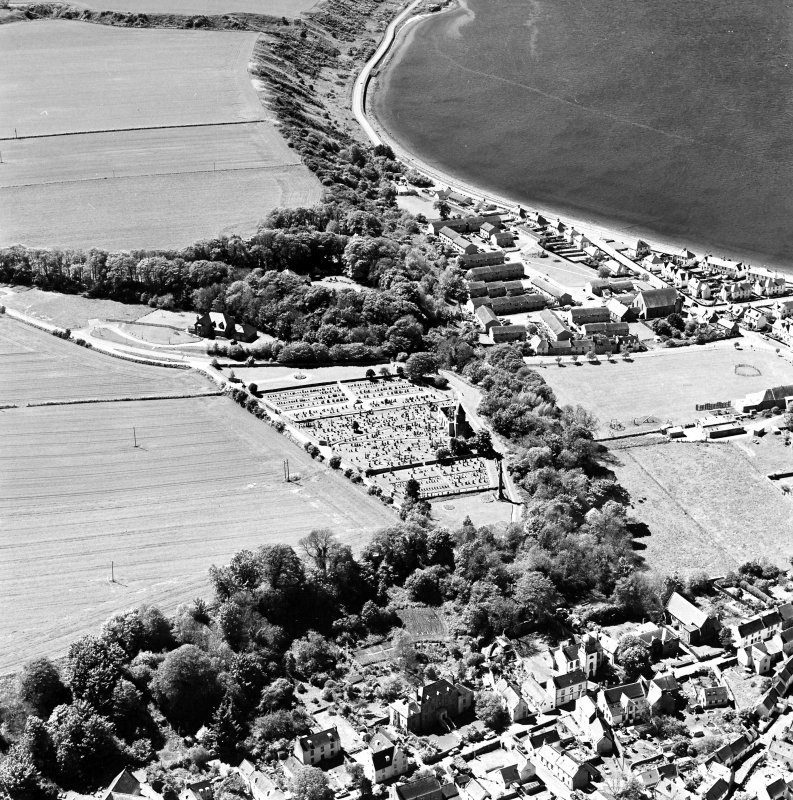 Aerial view of Cromarty, The Paye, Gaelic Chapel and part of the town and from the NE.