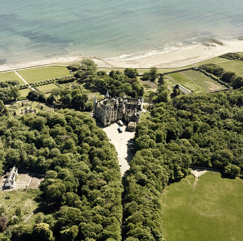 Aerial view of Dunrobin Castle, walled garden and formal gardens, taken from the N.