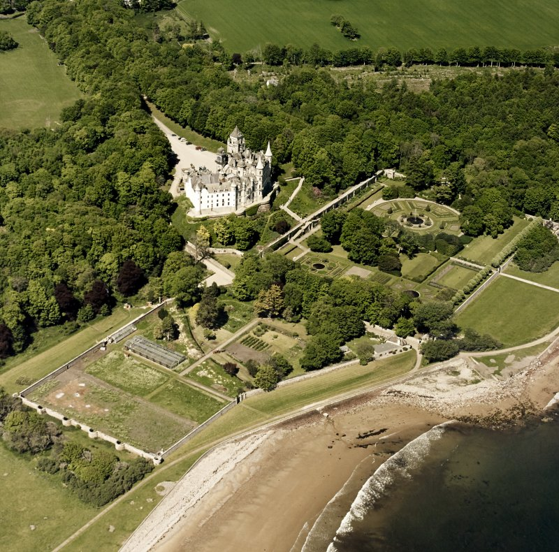 Aerial view of Dunrobin Castle, walled garden and formal gardens, taken from the SW.