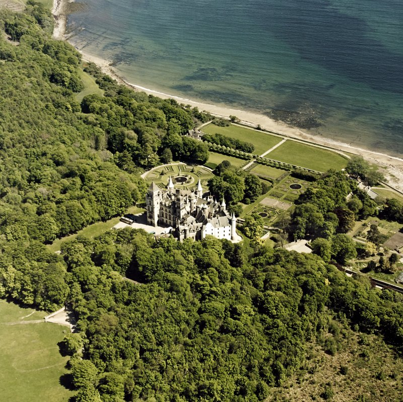 Aerial view of Dunrobin Castle, walled garden and formal gardens, taken from the NW.