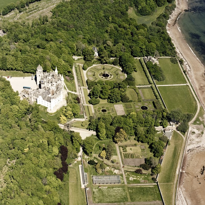 Aerial view of Dunrobin Castle and grounds with the formal garden from S.