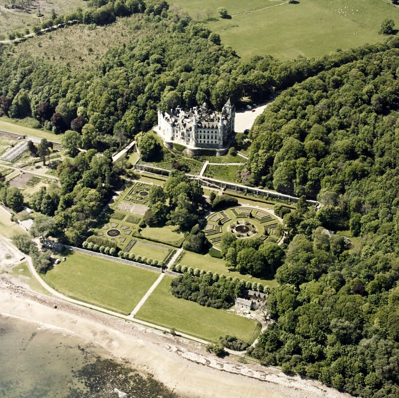 Aerial view of Dunrobin Castle with the formal garden from E.