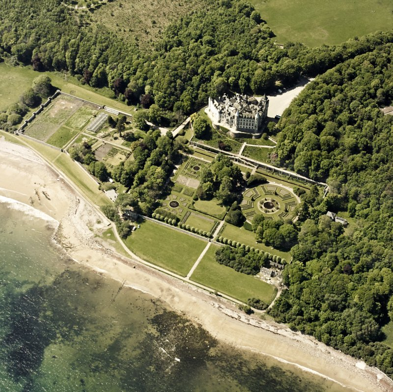 Aerial view of Dunrobin Castle with the formal garden from NE.