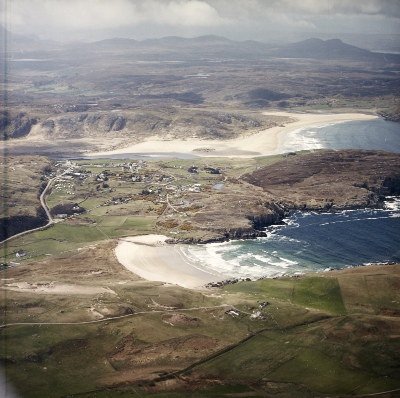 General oblique aerial view centred on the village of Bettyhill, taken from the ENE.
