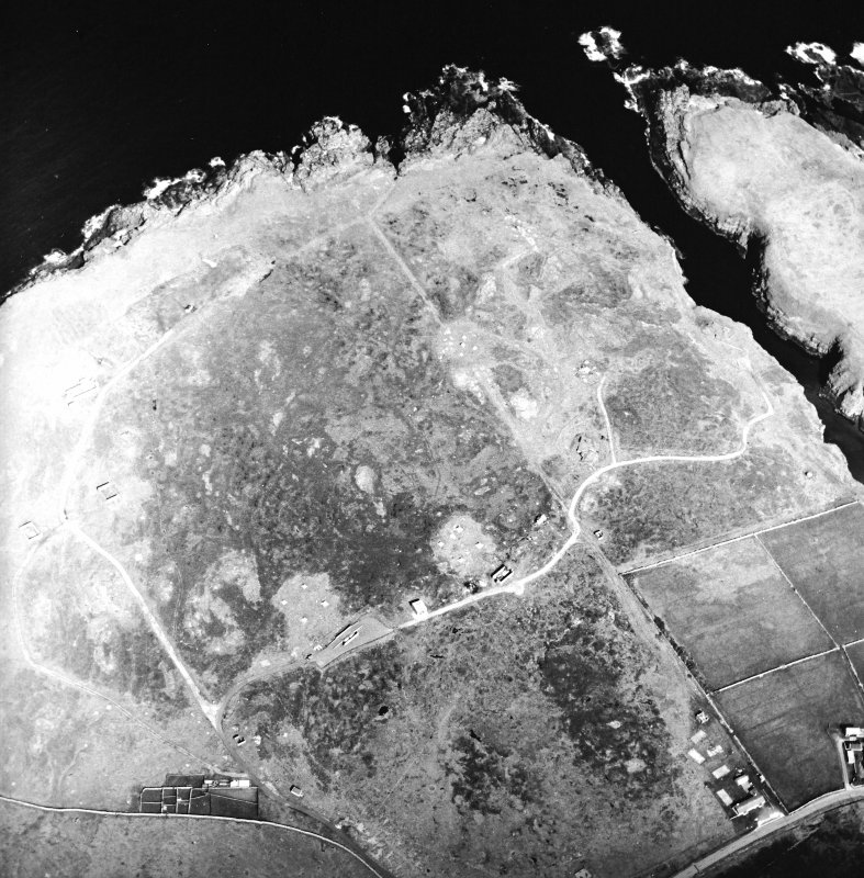 Oblique aerial view centred on the remains of the radar station, taken from the WSW.