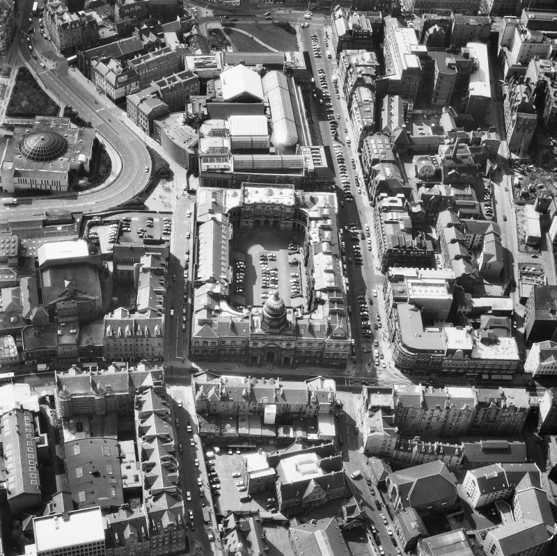 Aerial view showing Old College and Royal Museum of Scotland.