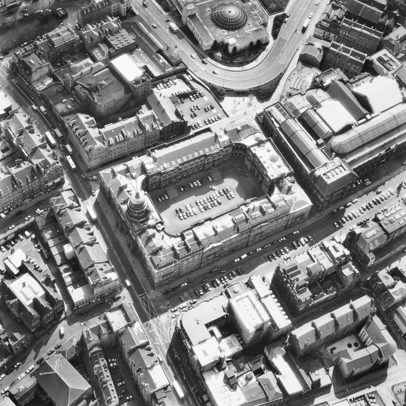 Oblique aerial view showing Old College and Royal Museum of Scotland