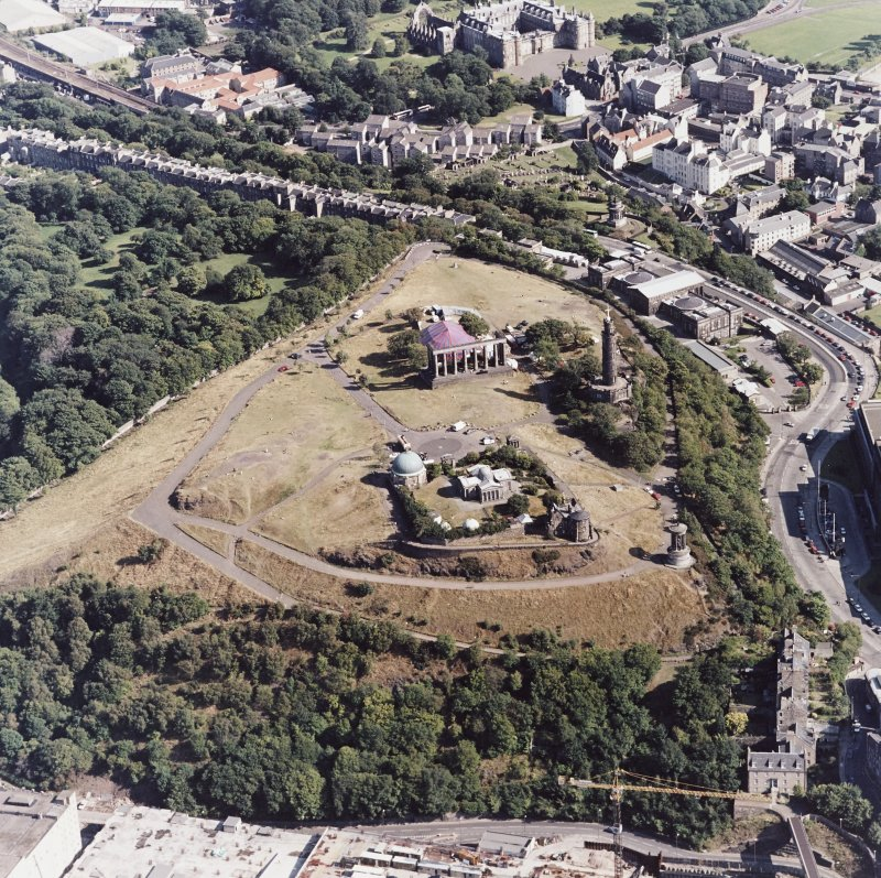 Edinburgh, oblique aerial view of Calton Hill, taken from the NE.
