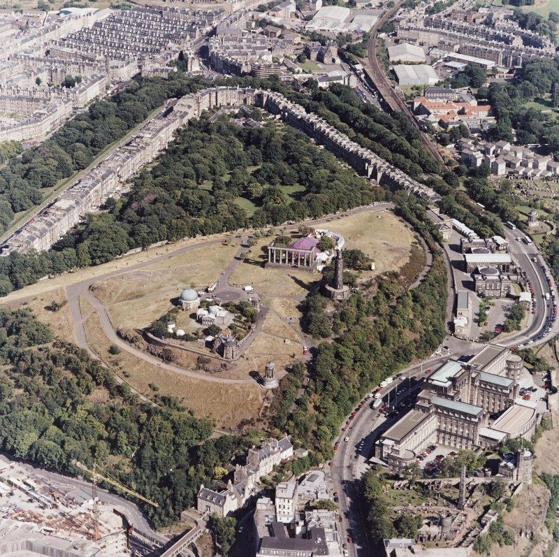 Edinburgh, oblique aerial view of Calton Hill, taken from the W.