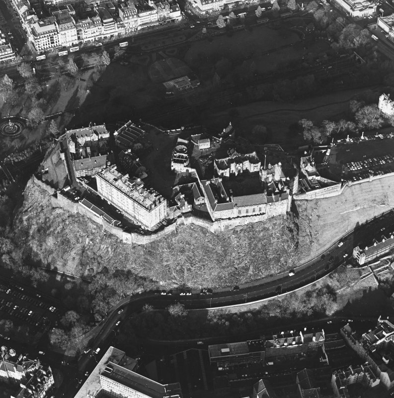 Oblique aerial view of the Edinburgh Castle centred on the castle, taken from the S.