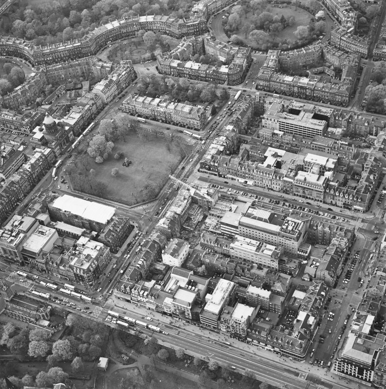 Oblique aerial view of Edinburgh centred on the renovation of the Roxburghe Hotel with the renovations to the south side of Charlotte Square adjacent, taken from the SE.
