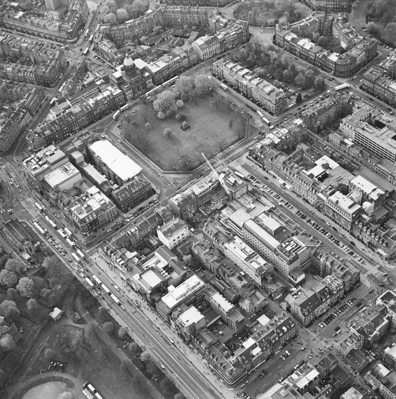 Oblique aerial view of Edinburgh centred on the renovation of the Roxburghe Hotel with the renovations to the south side of Charlotte Square adjacent, taken from the ESE.