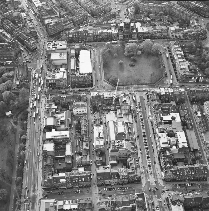 Oblique aerial view of Edinburgh centred on the renovation of the Roxburghe Hotel with the renovations to the south side of Charlotte Square adjacent, taken from the ENE.