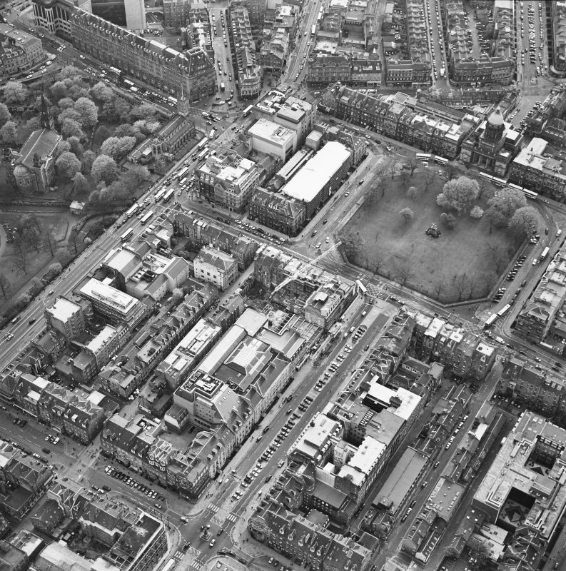 Oblique aerial view of Edinburgh centred on the renovation of the Roxburghe Hotel with the renovations to the south side of Charlotte Square adjacent, taken from the NE.