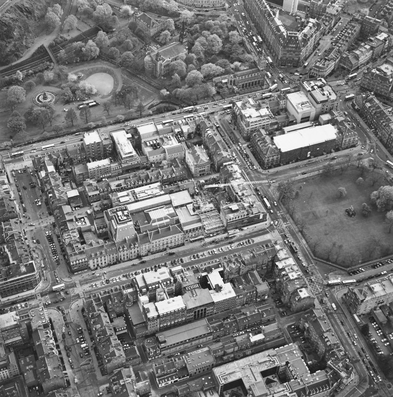 Oblique aerial view of Edinburgh centred on the renovation of the Roxburghe Hotel with the renovations to the south side of Charlotte Square adjacent, taken from the N.