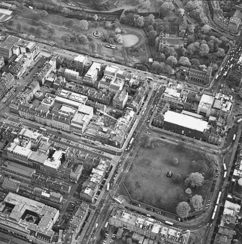 Oblique aerial view of Edinburgh centred on the renovation of the Roxburghe Hotel with the renovations to the south side of Charlotte Square adjacent, taken from the NW.