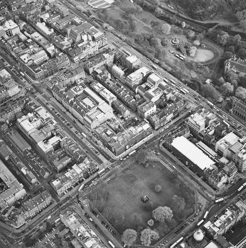Oblique aerial view of Edinburgh centred on the renovation of the Roxburghe Hotel with the renovations to the south side of Charlotte Square adjacent, taken from the WNW.