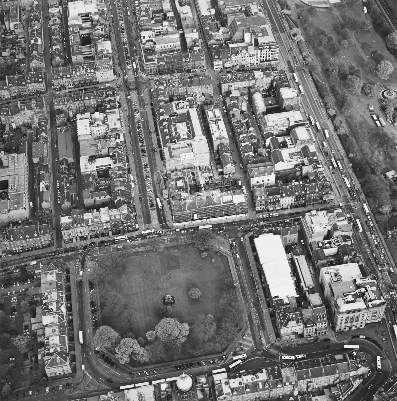 Oblique aerial view of Edinburgh centred on the renovation of the Roxburghe Hotel with the renovations to the south side of Charlotte Square adjacent, taken from the W.