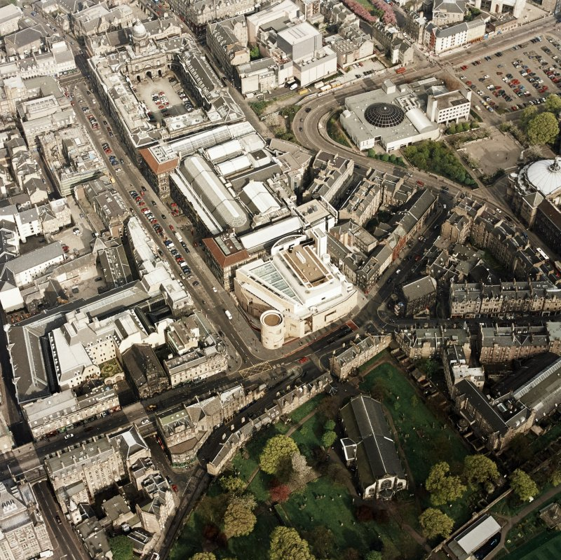 Oblique aerial view of Edinburgh centred on the Museum of Scotland, taken from the W.