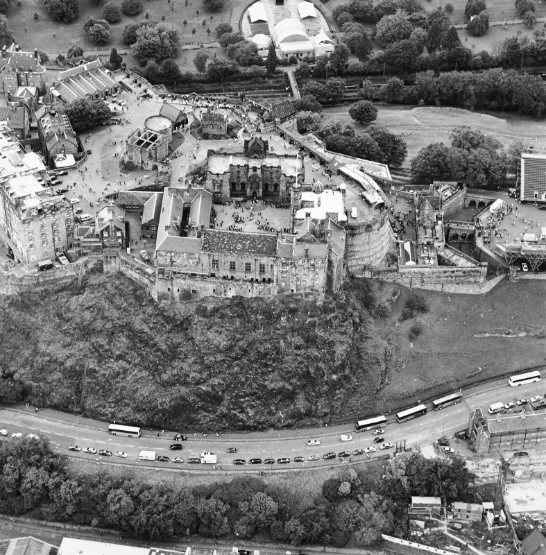 Oblique aerial view of Edinburgh Castle, taken from the S.