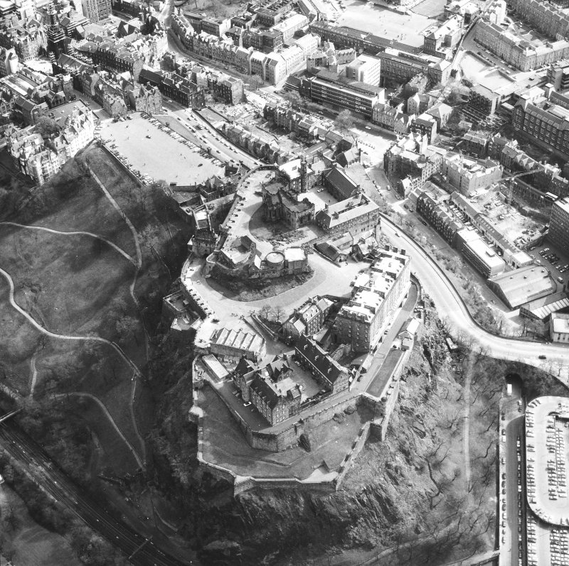 Oblique aerial view of Edinburgh centred on Edinburgh Castle.