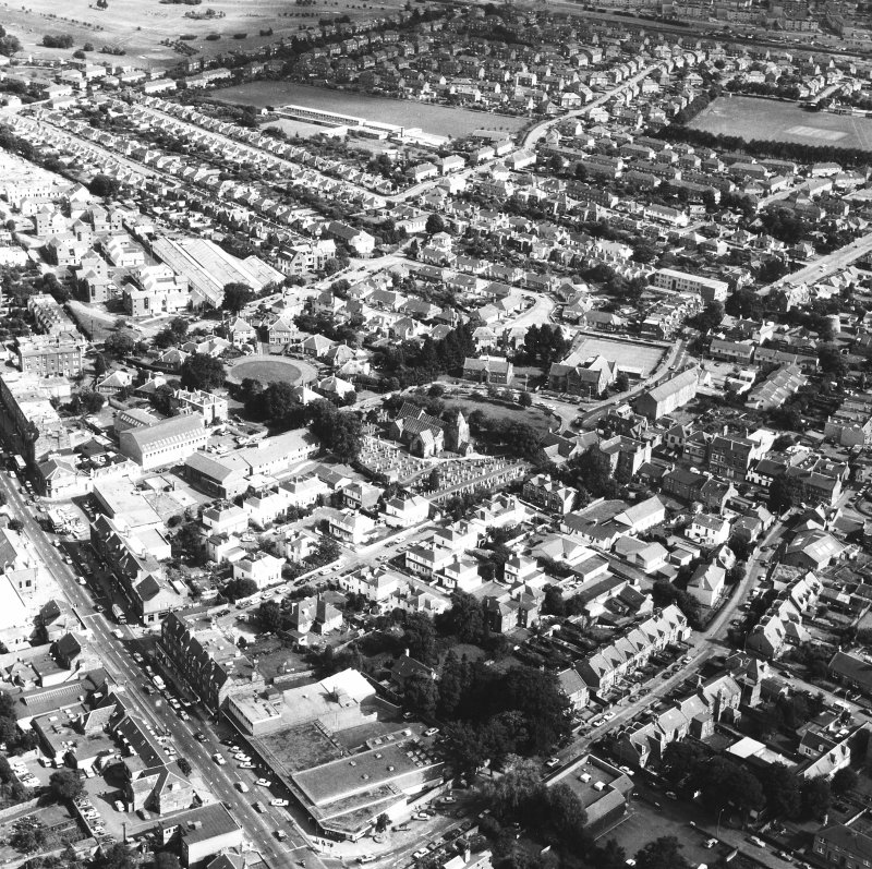 Aerial view of Corstorphine centred on Kirk Loan, Corstorphine Parish Church
