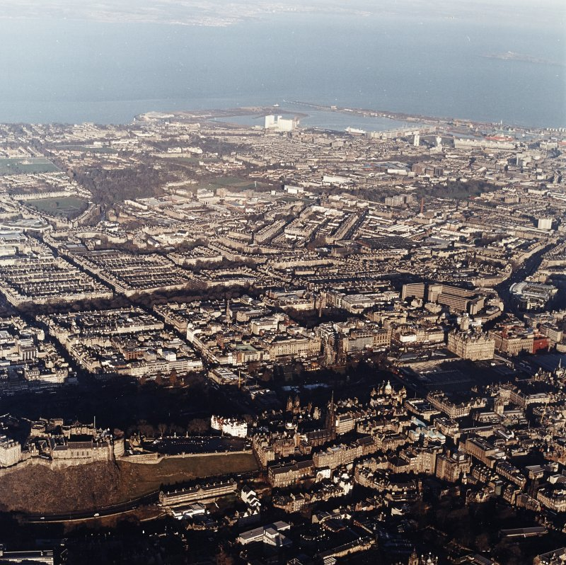 General oblique aerial view looking across Edinburgh towards Granton, taken from the SSW.