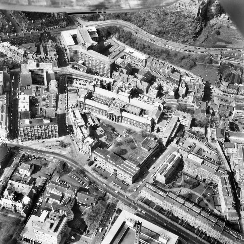Oblique aerial view of Lauriston Place, Edinburgh College of Art and 3, Lady Lawson Street, Argyle House