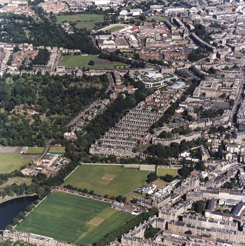 Edinburgh, oblique aerial view, taken from the WSW, centred on the Stockbridge Colonies, with the Royal Botanic Gardens in the left centre, and Powderhall Stadium and the Tanfield headquarters of Standard Life Assurance visible in the top half of the photograph.