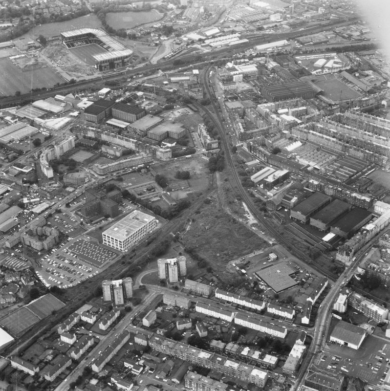 General aerial view of Gorgie, including Robertson Avenue Bakery, Wheatfield Road North British Distillery, Tynecastle Park Stadium, Murrayfield Stadium and Wheatfield Road Blandfield Chemical Works.