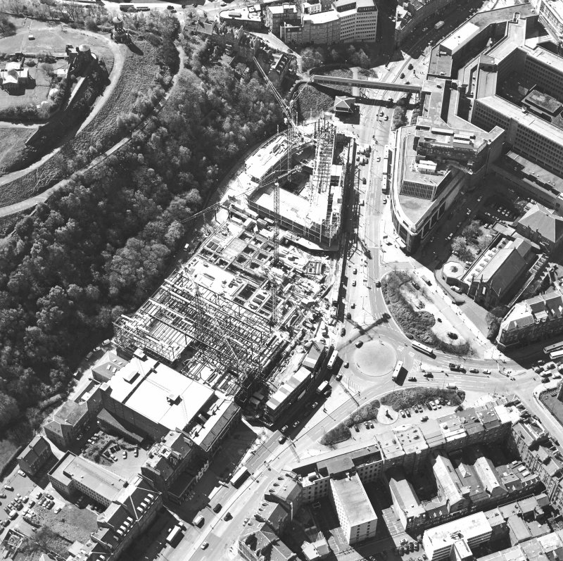 Oblique aerial view centred on the construction of the Omni Plaza with the observatory adjacent, taken from the N.