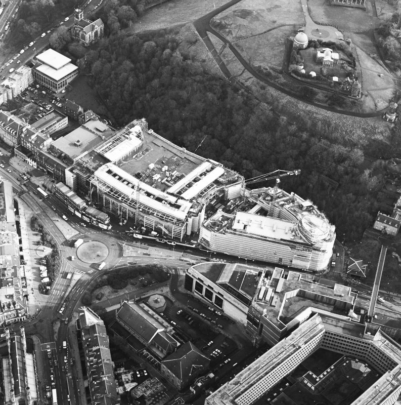 Oblique aerial view centred on the redevelopment of Greenside Place with the observatory and cathedral adjacent, taken from the W.