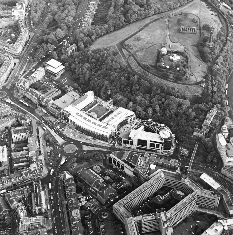 Oblique aerial view of Greenside Place, with the observatory and Cathedral adjacent, taken from the W.