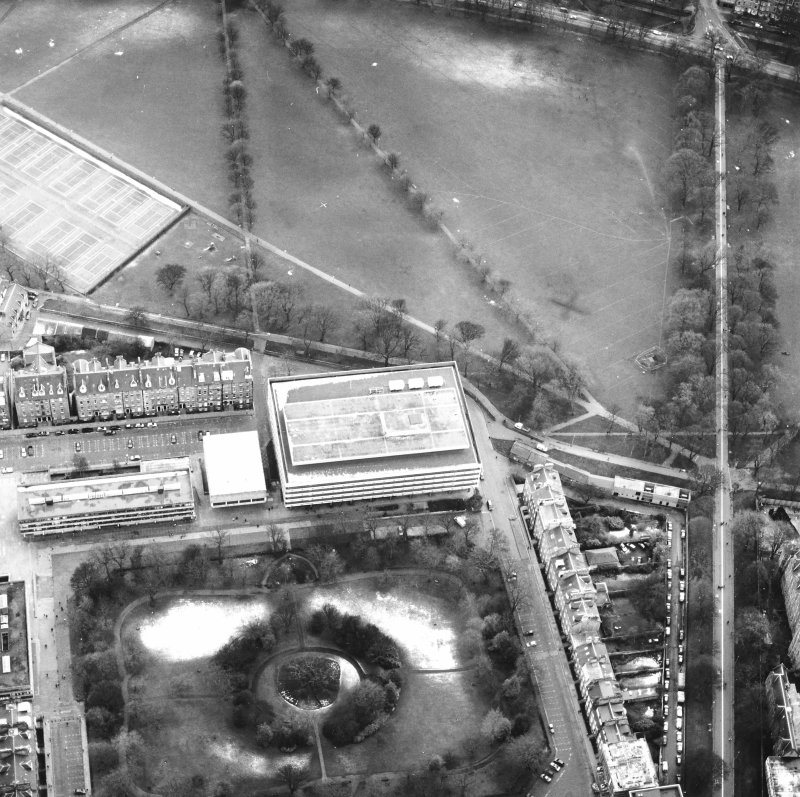 Oblique aerial view centred on the library with George Square, University buildings and Meadows adjacent, taken from the NNW.