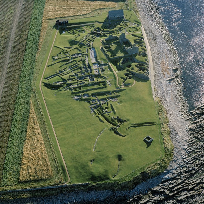 Oblique aerial view of Jarlshof from NW.