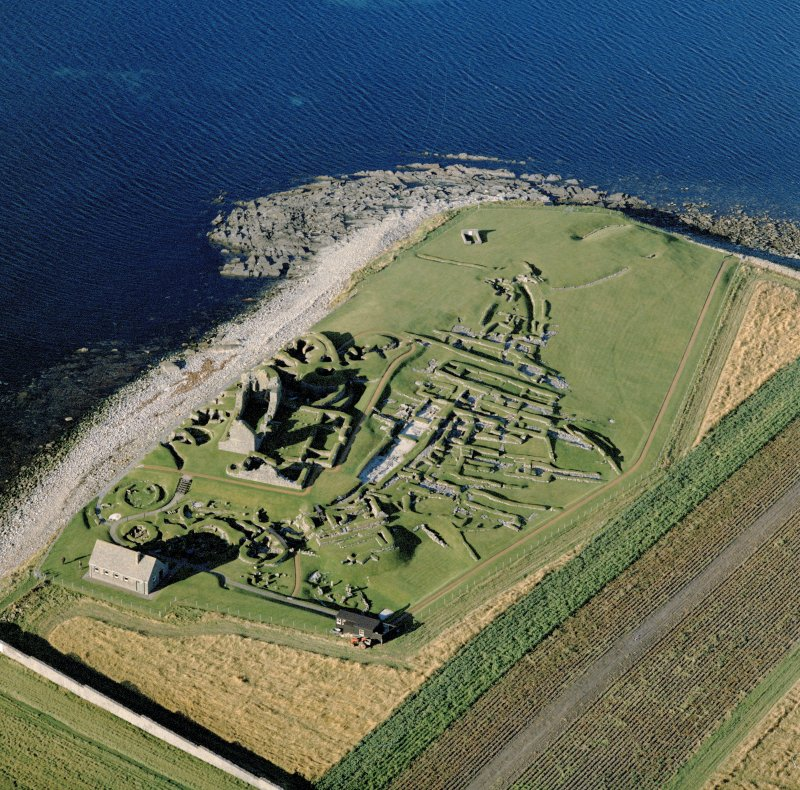Oblique aerial view of Jarlshof from E.