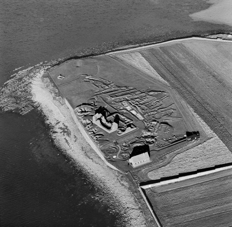 Oblique aerial view of Jarlshof from SE.