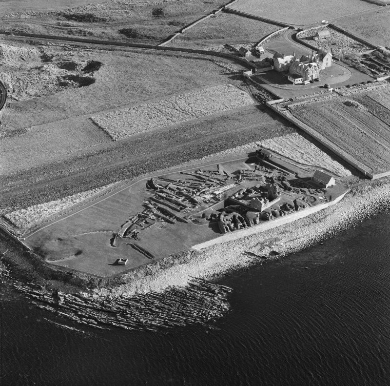 Oblique aerial view of Jarlshof from W.