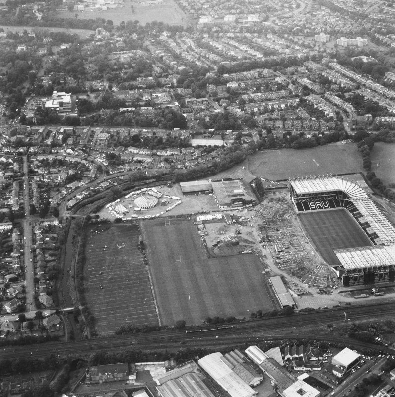 General aerial view of Murrayfield including the stadium.