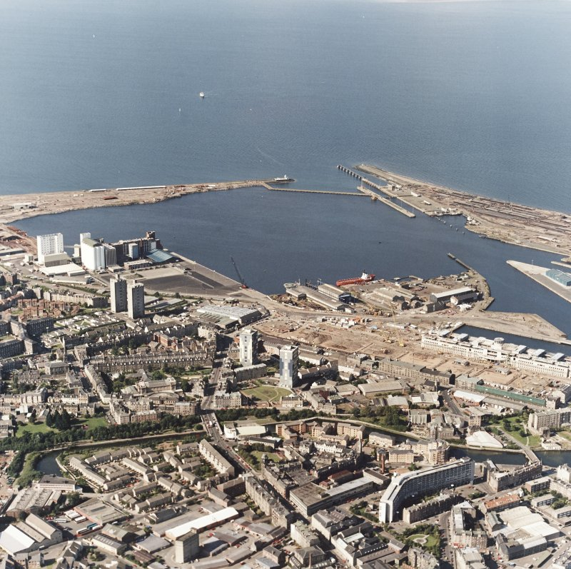 Edinburgh, oblique aerial view, taken from the S, showing Leith Docks in the top half of the photograph, and North Leith in the bottom half.