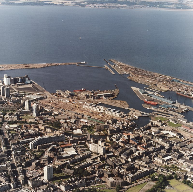 Edinburgh, oblique aerial view, taken from the SSE, centred on Leith Docks with North Leith in the bottom half.