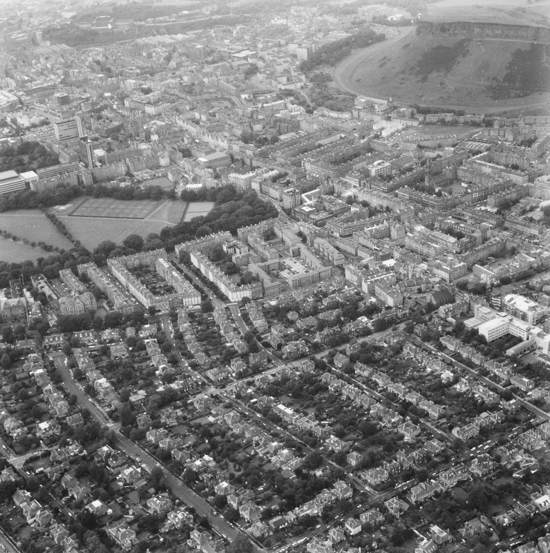 Aerial view including Salisbury Crags, Lauder Road, the Meadows, Sciennes, Dick Place, Grange Road, Causewayside, George Square seen from the South.