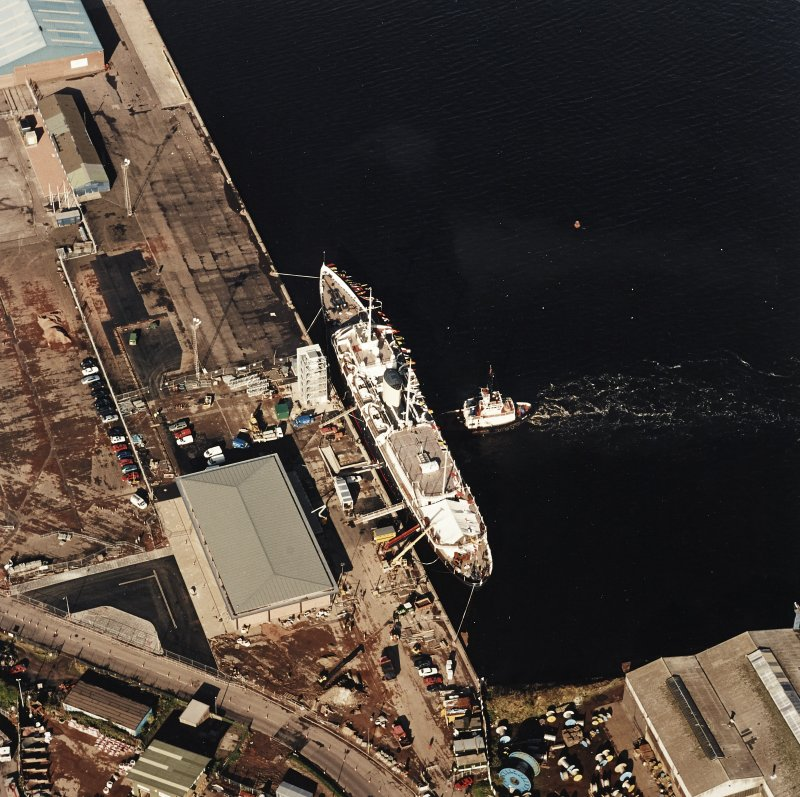 Oblique aerial view centred on HMRY Britannia and the temporary visitor centre, taken from the SE.