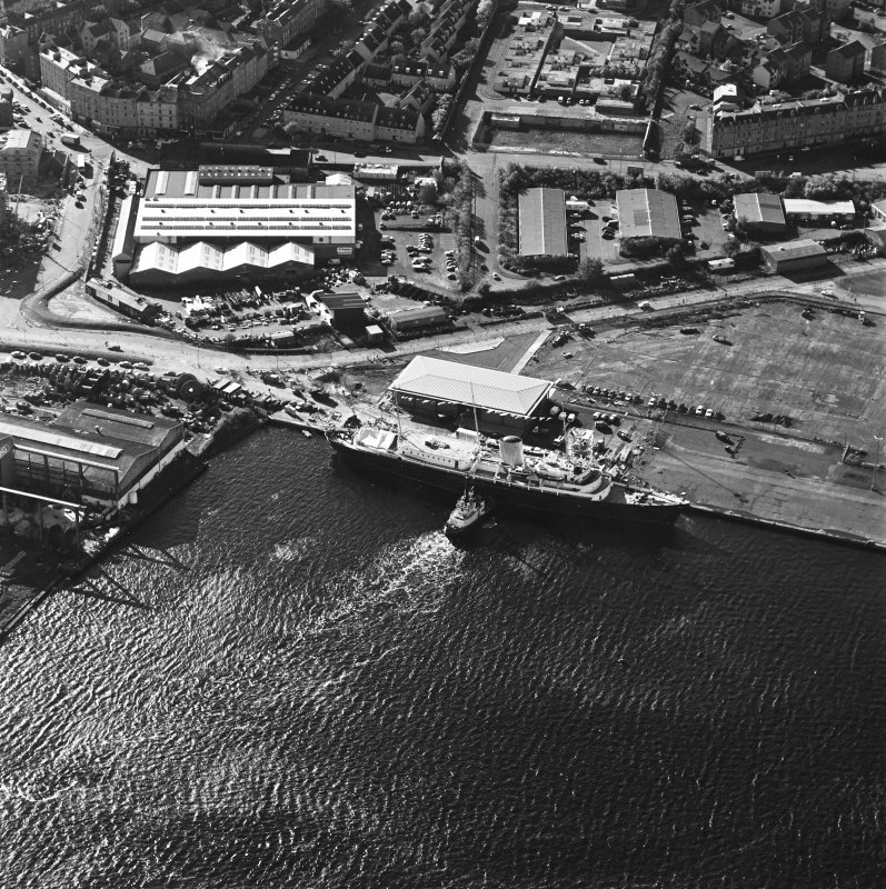 Oblique aerial view centred on HMRY Britannia and the temporary visitor centre, taken from the N.