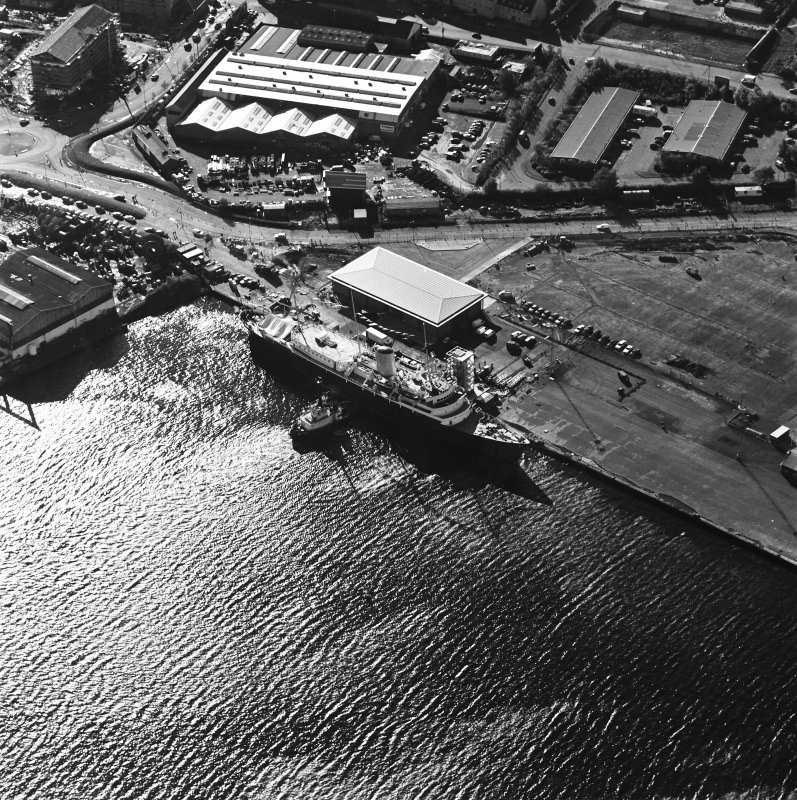 Oblique aerial view centred on HMRY Britannia and the temporary visitor centre, taken from the NNW.