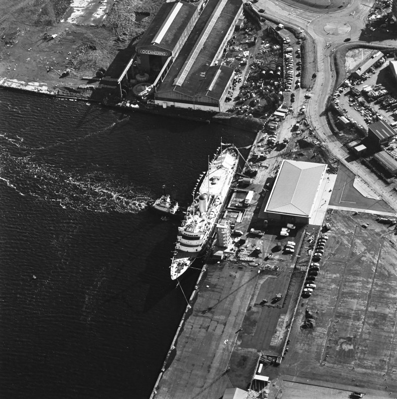 Oblique aerial view centred on HMRY Britannia and the temporary visitor centre, taken from the WNW.